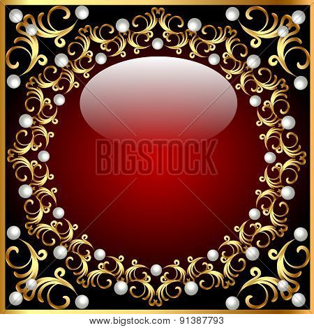 vintage background from a circular ornament with pearls