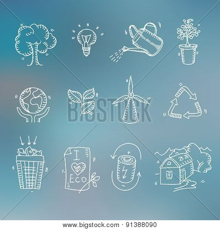 Hand drawn doodle sketch ecology organic icons eco and bio elements Blurred background Nature planet