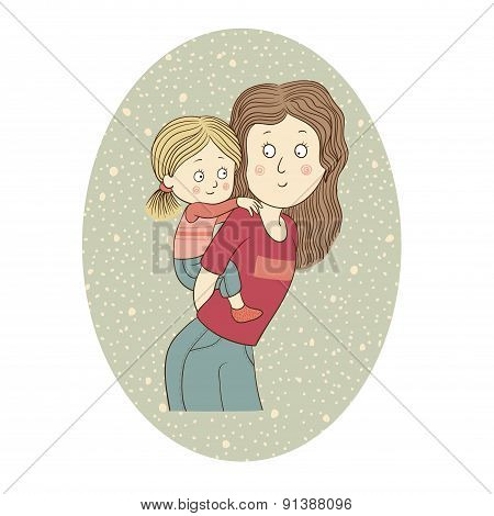 Color vector illustration: Mother and daughter