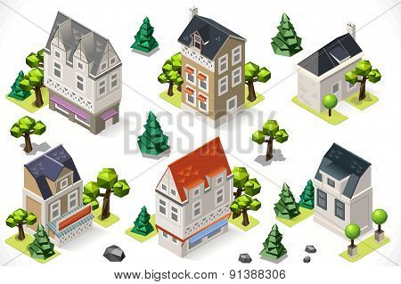 Europe Building Set Tint Cartoon Isometric 3D