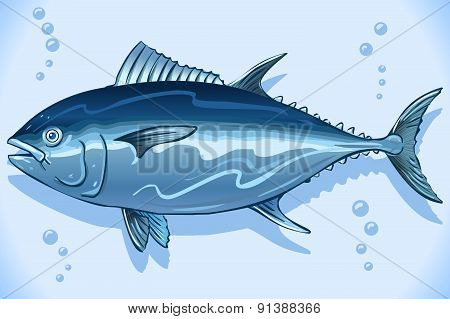 Tuna Watercolor Underwater World