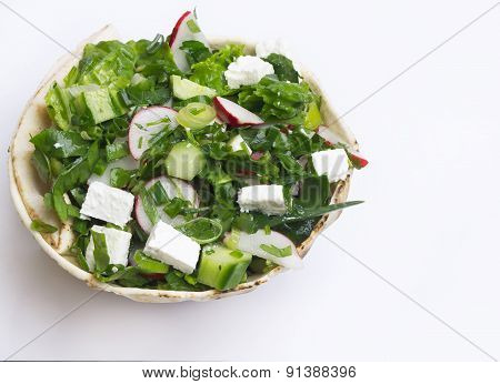 Mediterranean Salad with Feta Cheese.