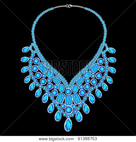 woman's necklace with precious stones