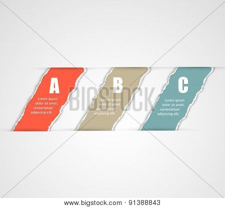 Torn paper banners. Design template for infographics, website layout.