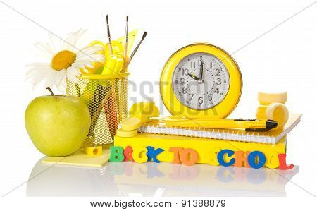 School accessories and apple