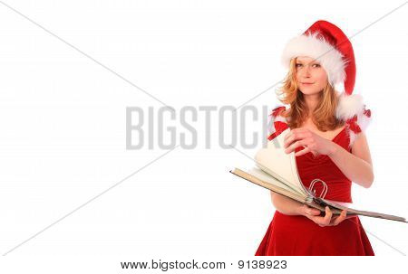Miss Santa Is Doing Paper Work - Whitespace On The Left