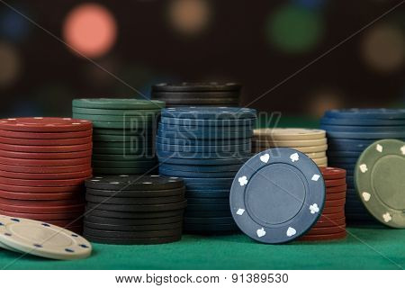 Poker chips on black