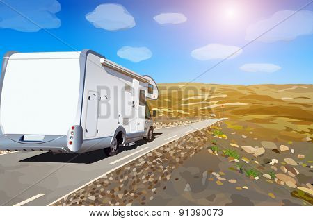 Camper traveling on mountains road.