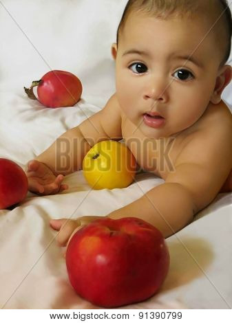 Five-months-old baby boy with apples
