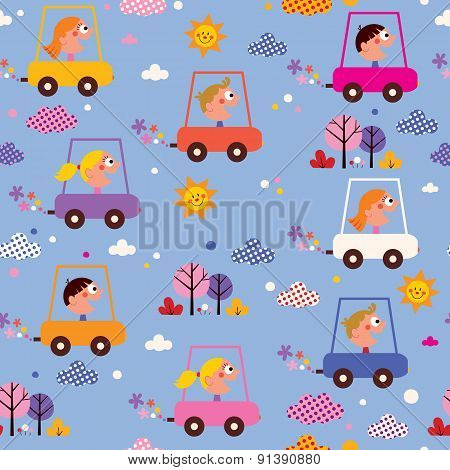 cute kids driving cars pattern