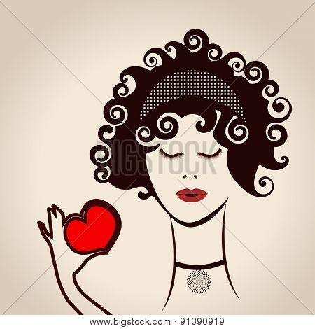 Girl with curly hair hand heart layered