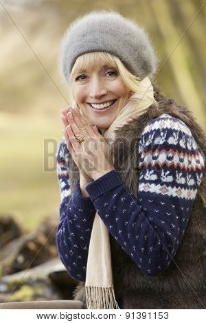 Portrait mature woman outdoors in winter
