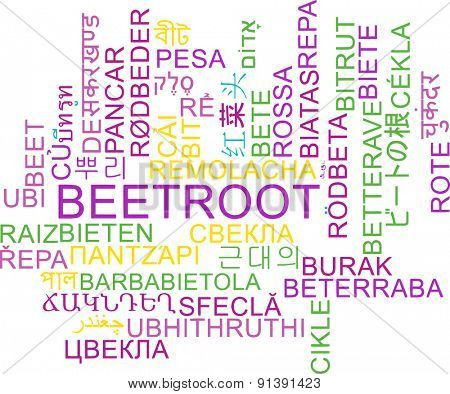 Background concept wordcloud multilanguage international many language illustration of beetroot