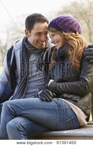 Romantic portrait couple outdoors in winter