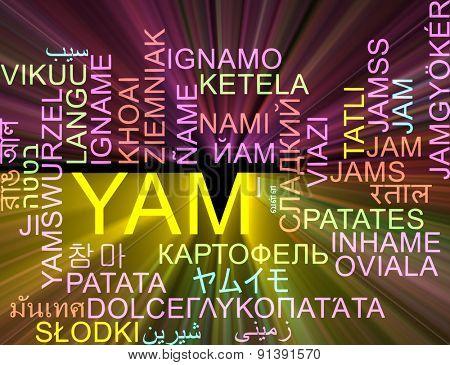 Background concept wordcloud multilanguage international many language illustration of yam glowing light