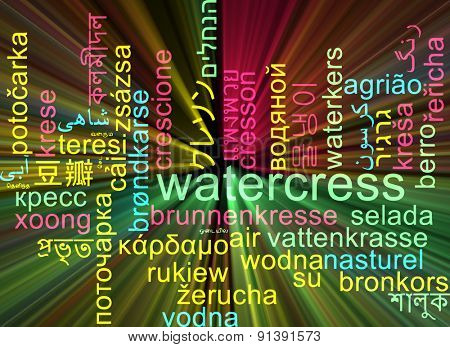 Background concept wordcloud multilanguage international many language illustration of watercress glowing light
