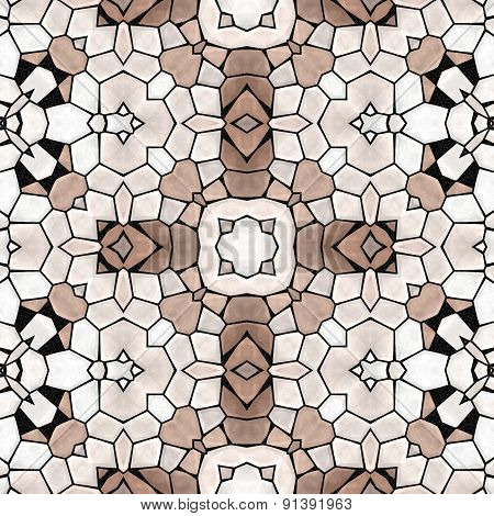 Seamless Kaleidoscope Mosaic Pattern In Brown