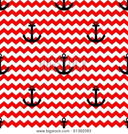 Tile sailor vector pattern with black anchor on red and white zig zag background