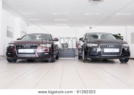 Moscow, Russia, May, 8, 2015: Cars in a dealer's showroom in Moscow, Russia