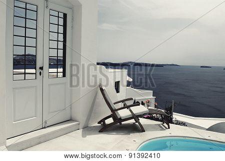 Bird eye view from Santorini, Greece