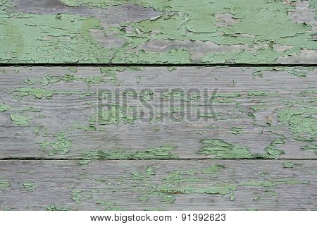 Old Shabby Wooden Wall Painted Green Background