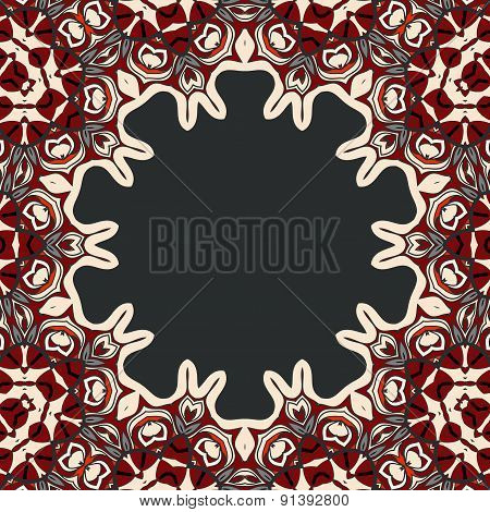 Abstract vector circle floral ornamental border frame