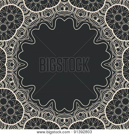 Ornamental stylized round frame vector, a lot of copyspace in the center. Vintage tribal art element