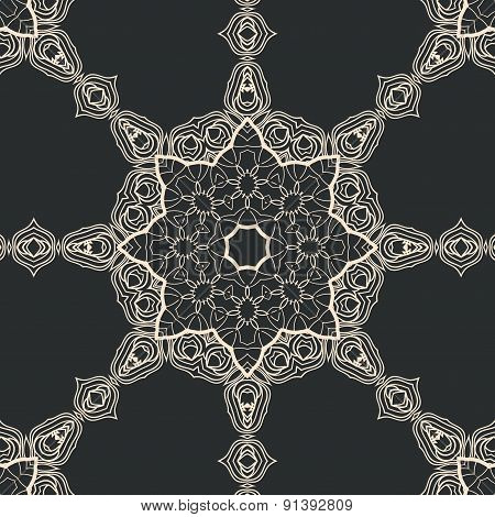 Mandala in outlines. Tribal oriental design seamless. Ornate ornamental art