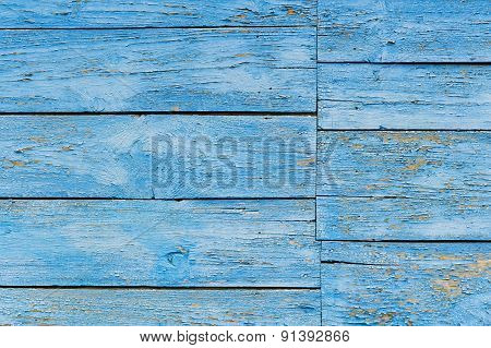 Old Wooden Wall Painted Blue Background