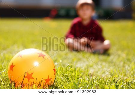 Close up of rubber ball on grass
