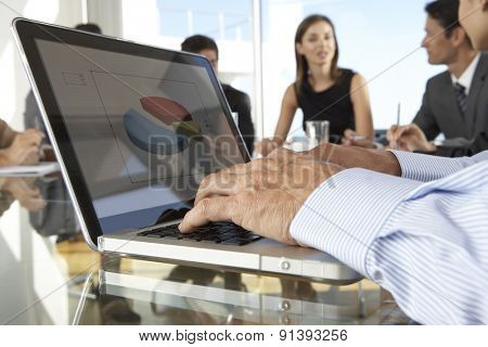 Close Up Of Businessman Using Laptop During Board Meeting Around Glass Table