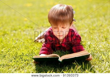 Close up of reading boy on grass