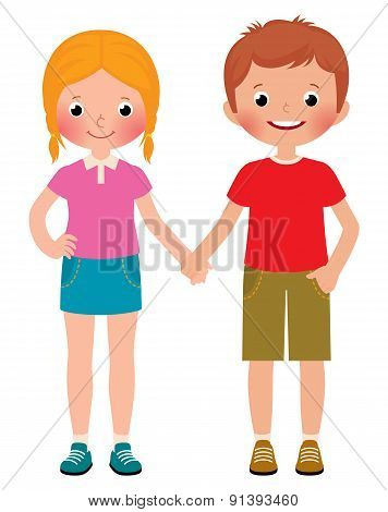Friends Of Boy And Girl Isolated On White Background