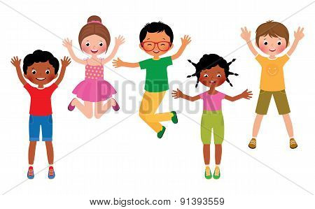 Group Of Happy Jumping Children Isolated On White Background