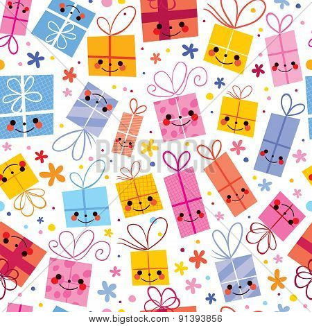 cute gifts wrapping paper seamless pattern