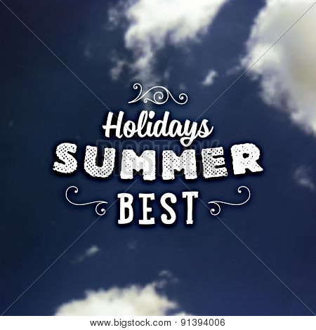 Summer Holidays Typography Background with Sun and Sky. Sun Shine and Clouds. Vector illustration. Summer Label.