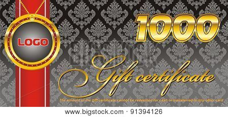 Template-gift Certificate For One Thousand, Black [