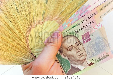 Ukrainian Money In The Hand