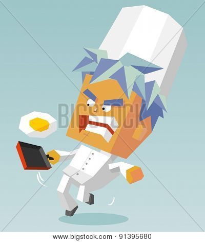 determined cook egg. vector illustration