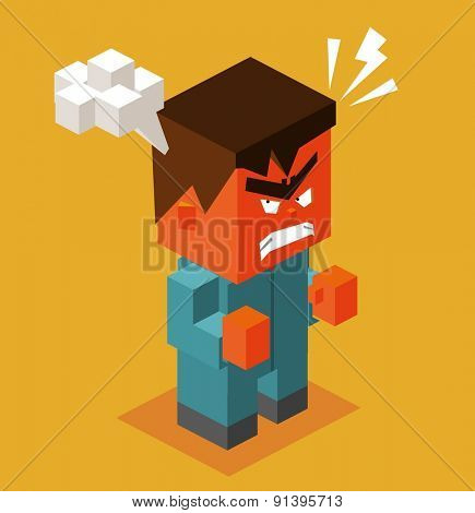 furious man with smoky head.vector illustration