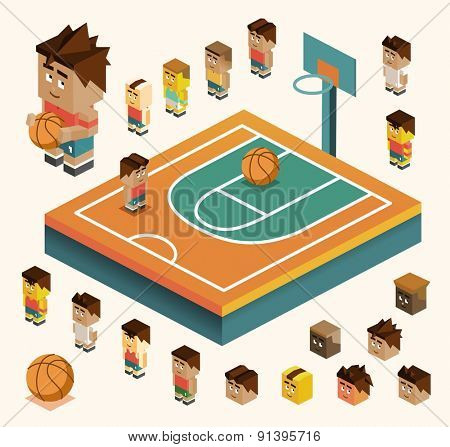 basketball court with team ball.vector illustrator