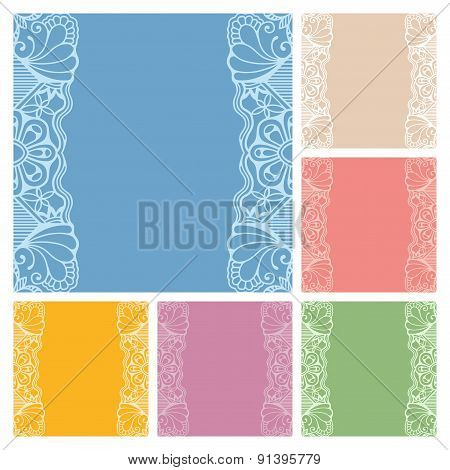 Wedding invitation or greeting cards collection design with lace pattern, ornamental vector illustra