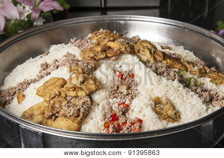Oriental Maklouba Rice At A Hotel Restaurant Buffet