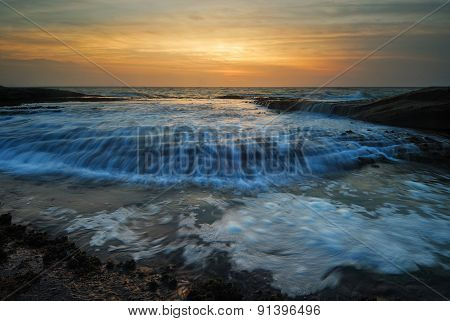 Rushing Waves Seascape Sunrise