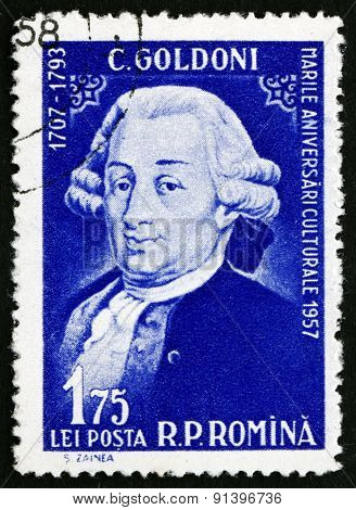 Postage Stamp Romania 1958 Carlo Goldoni, Italian Playwright