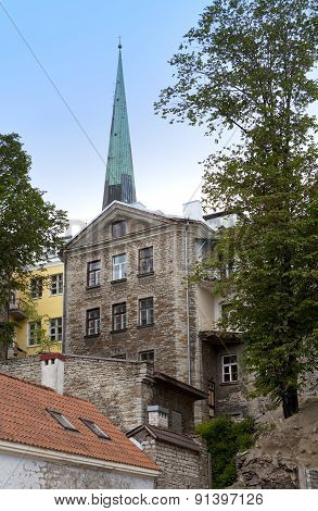 Old houses on the Old city streets. Tallinn. Estonia.