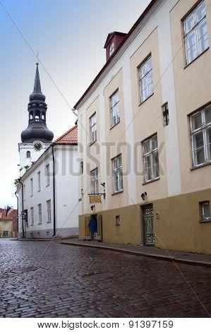 Streets of the Old City in the rain. Tallinn Estonia