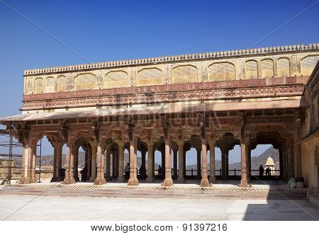 India. Jaipur. Amber fort  .Cityscape in a sunny day