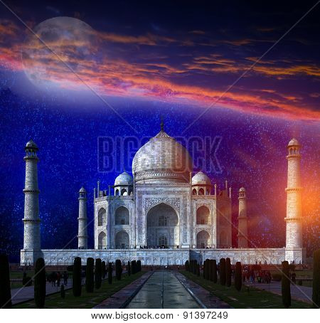 Taj Mahal by the light of the full moon in Agra Uttar Pradesh India. Elements of this image furnishe