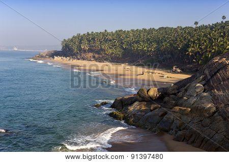 The seashore with stones and palm trees. India. Kerala.